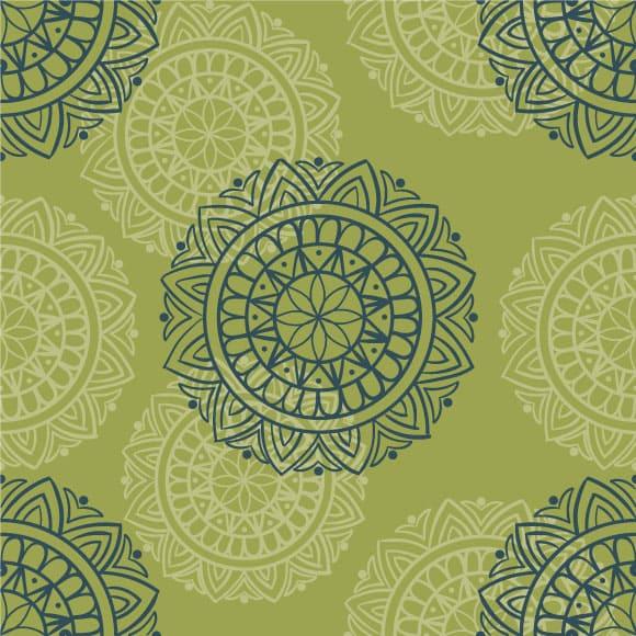 Green and White Block Print Pattern