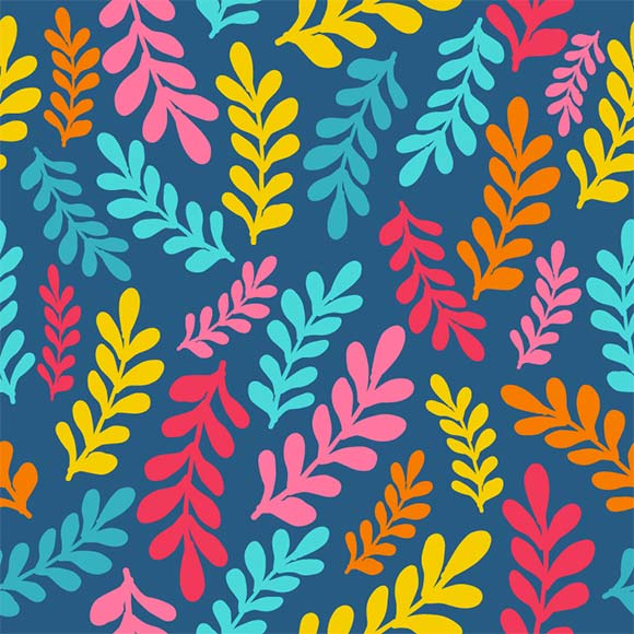 Colorful tropical leaves seamless vector pattern