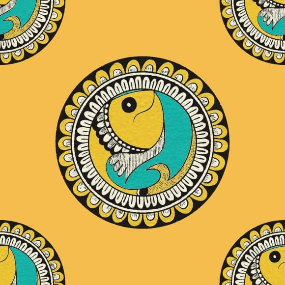Indian Ethnic Pattern with a Fish Design Pattern