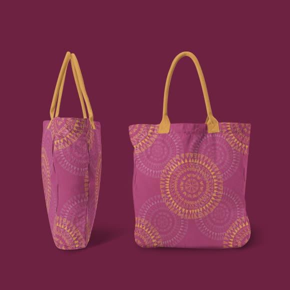 Round Ornament Tribal Pattern Hand Bag