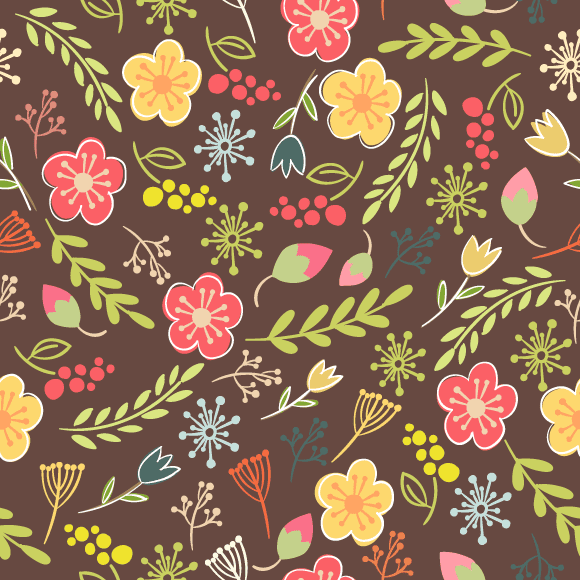 Colourful mixed floral, leaves and berries printed on brown background