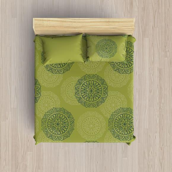 Green and White Block Print Blanket