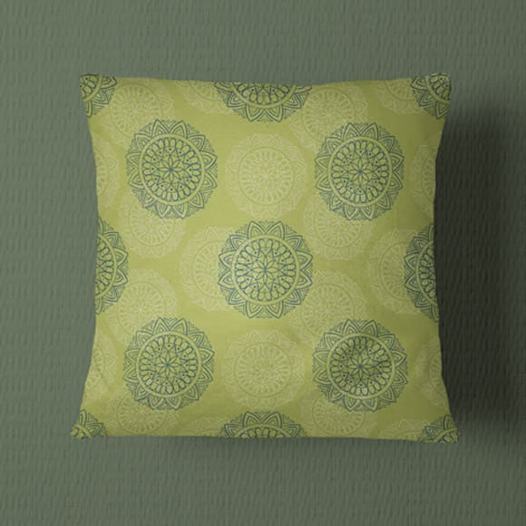 Green and White Block Print Pillow Cover