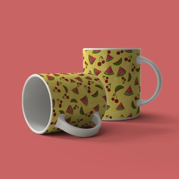 Watermelon and Mango Pattern, Coffee Mug