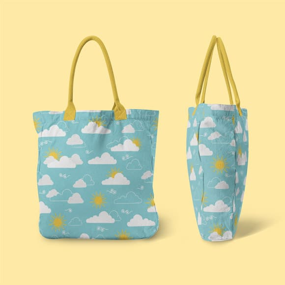 Clouds and Sun Seamless Summer Hand Bag