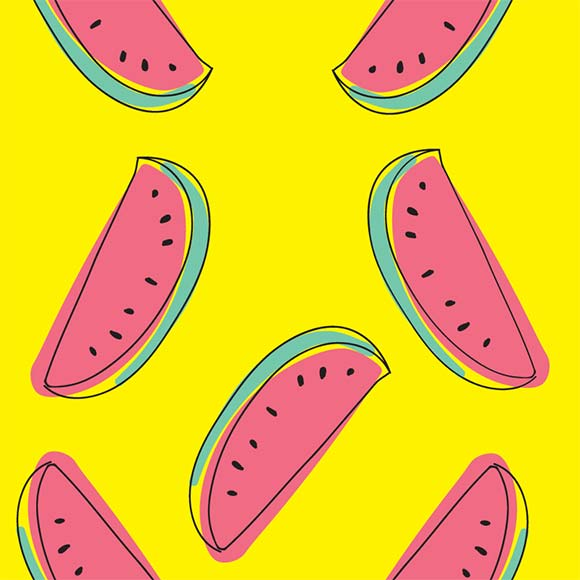 Sliced watermelon icons & seamless pattern. Outline design background