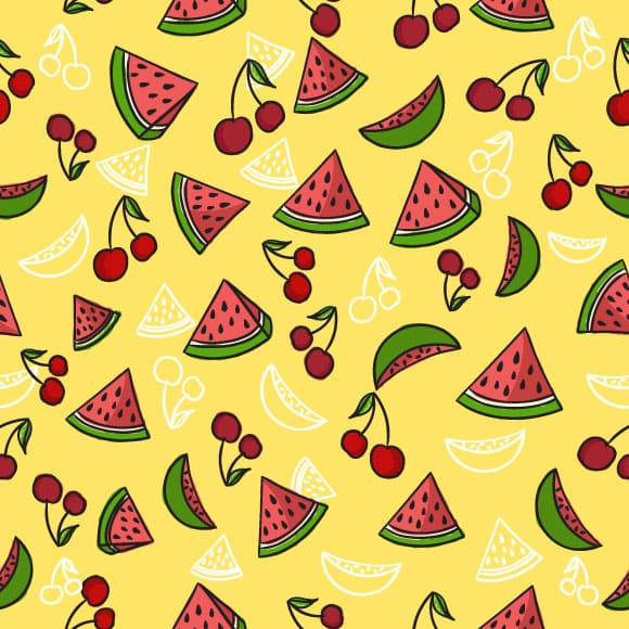 Watermelon slice and cherry seamless vector pattern