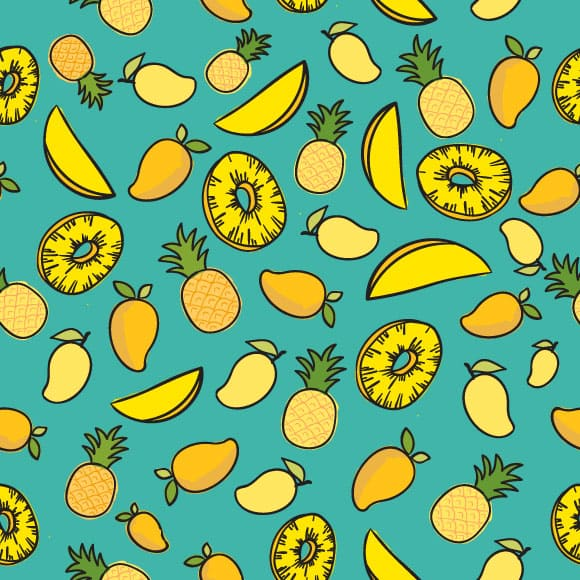 Mango and pineapple fruit with slices icons & seamless vector pattern