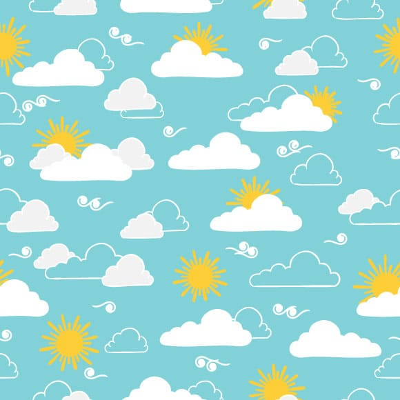 Clouds and Sun Seamless Summer Pattern