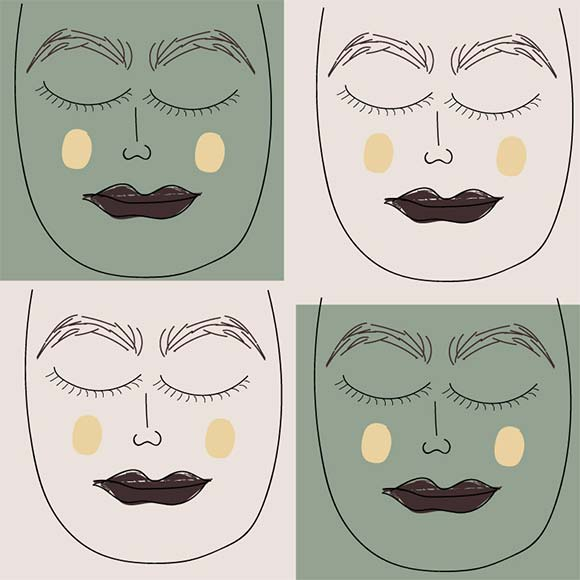 Portrait woman face seamless vector pattern. Hand drawn illustration