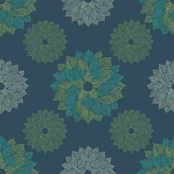 Abstract geometric floral art on green background