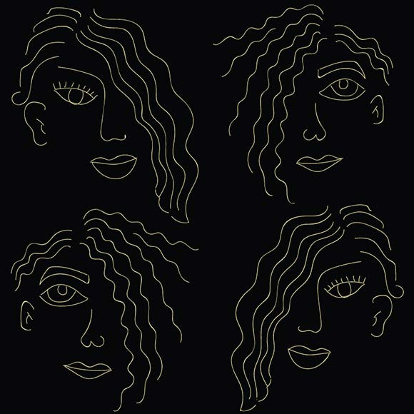 Girls face with curly hair vector pattern. Hand drawn illustration