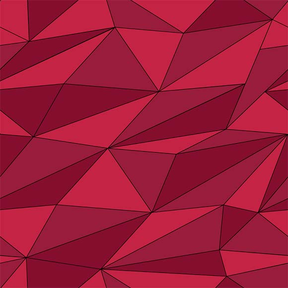 Red polygon triangles seamless vector pattern. Geometric background