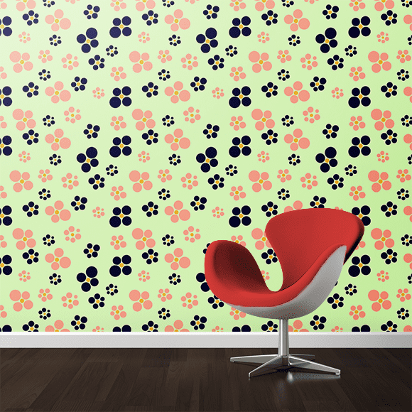 Abstract Design with Green Background Pattern Printed on Wall textures