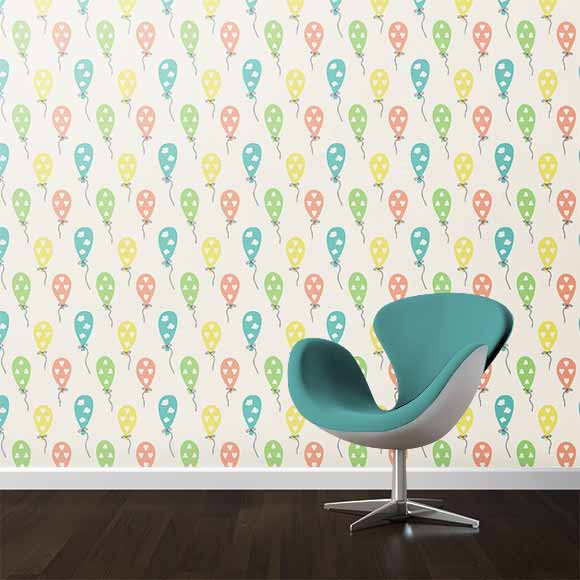 Air balloons wall texture with chair