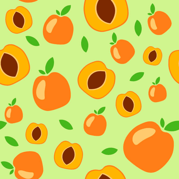 Apricot seamless vector pattern. Whole and half ripe fruit background