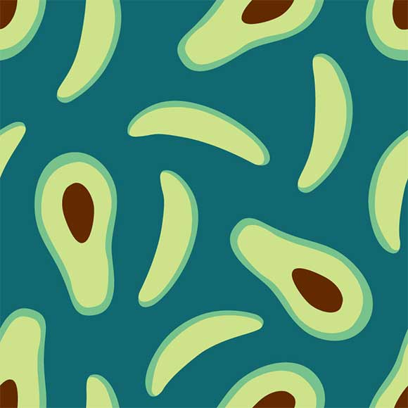 Avocado fruit slice pattern, EPS file format