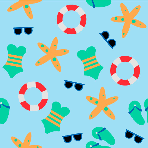 Beach elements seamless vector pattern. Realistic summer vacation design