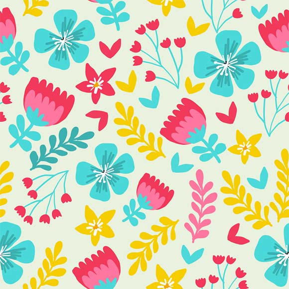 Botanical flowers and leaves seamless vector pattern