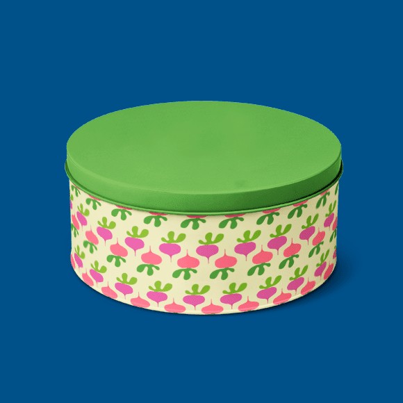 beetroot pattern on tiffin box with green colour cap