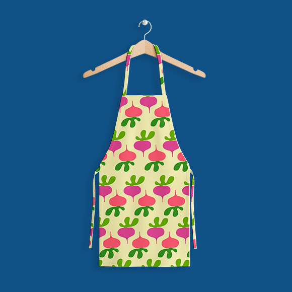 beetroot pattern apron on hanger