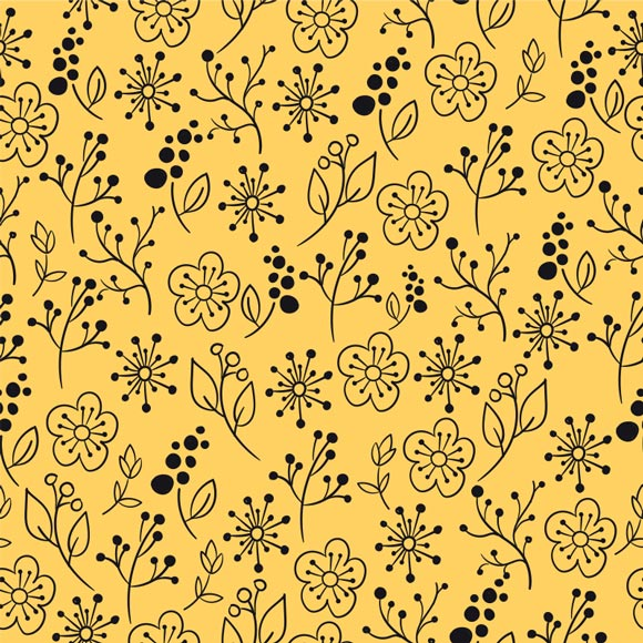 Black outline floral doodles printed on yellow background