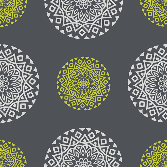Green and White Mandala Ethnic Vector Pattern