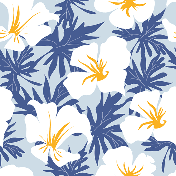 White blossom floral with blue leaves seamless vector pattern
