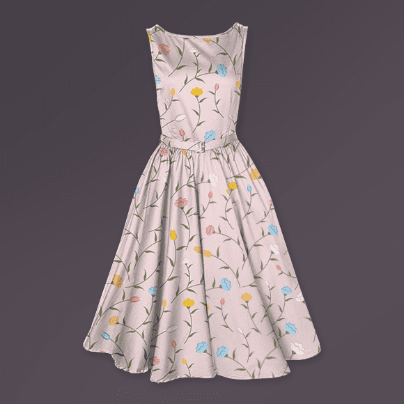 Multicolored Blossom Pattern Dress
