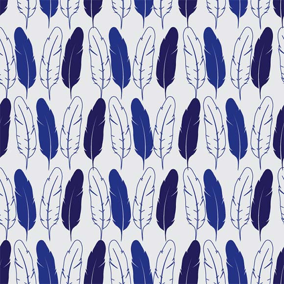 Blue feather background, beautiful hand-drawn vector pattern image