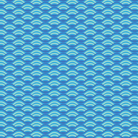 Blue and white wave seamless vector pattern. Abstract repeat background