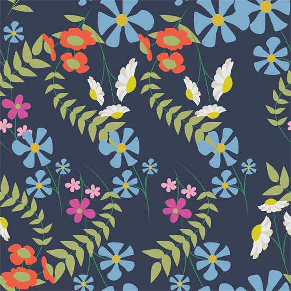 Colorful tropical botanical floral with leaves seamless vector pattern