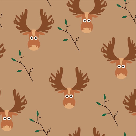 Cartoon Vector Reindeer Pattern