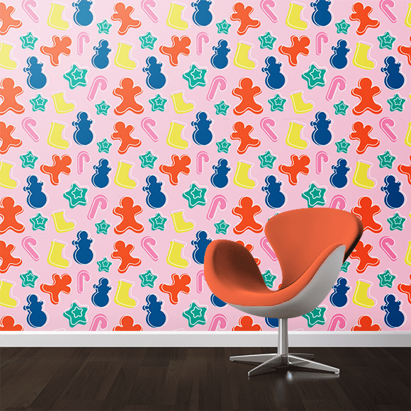 Christmas Snowman Elements Pattern. Wall texture, Chair, April  2019.