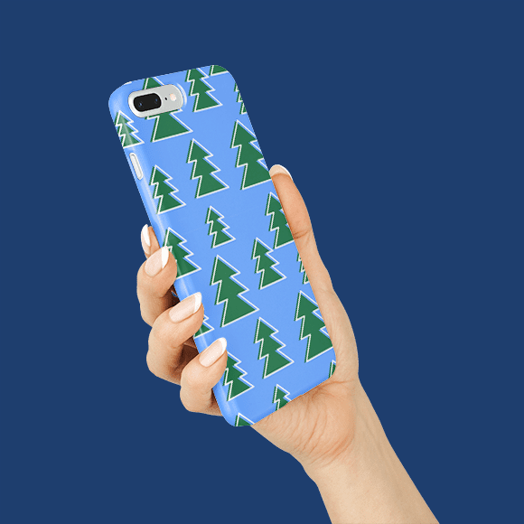 christmas tree pattern phone case on hands