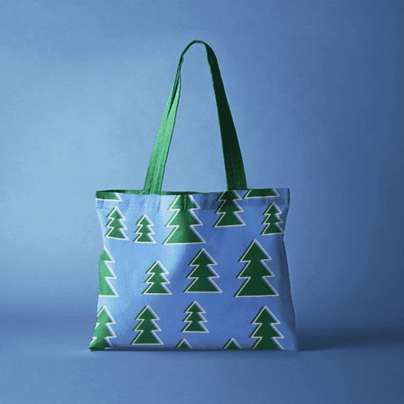christmas tree pattern on handbag