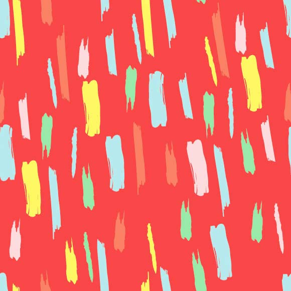 Colorful abstract brush strokes on red background