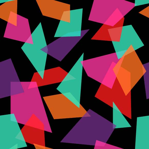 Colorful abstract geometric shapes on black background
