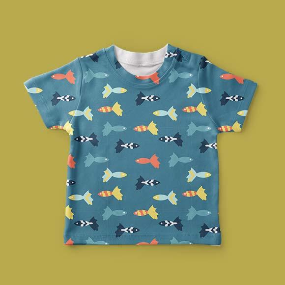 Multicolored fish kids t-shirt