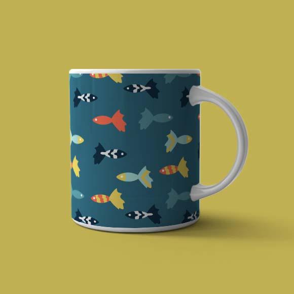Multicolored fish coffee mug