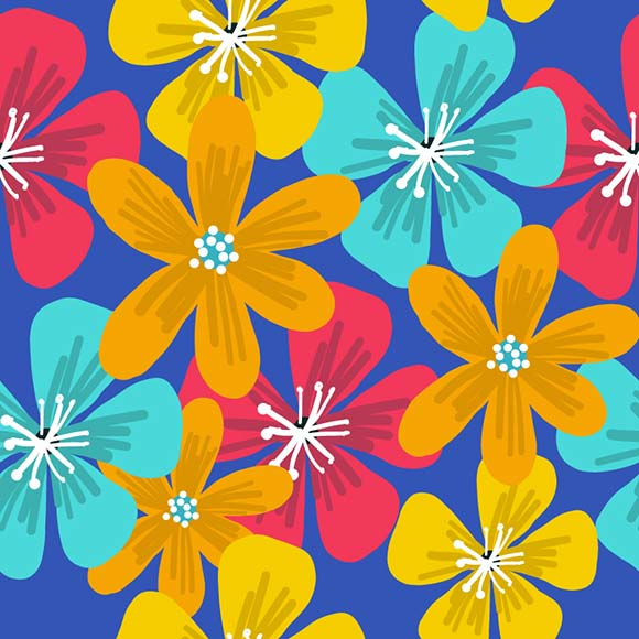 Colorful periwinkle flowers seamless pattern