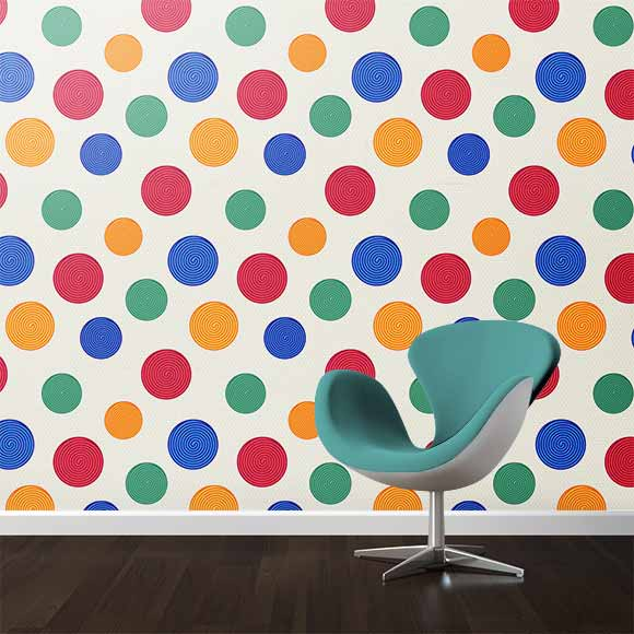 colorful swirls wall texture with light colour chair
