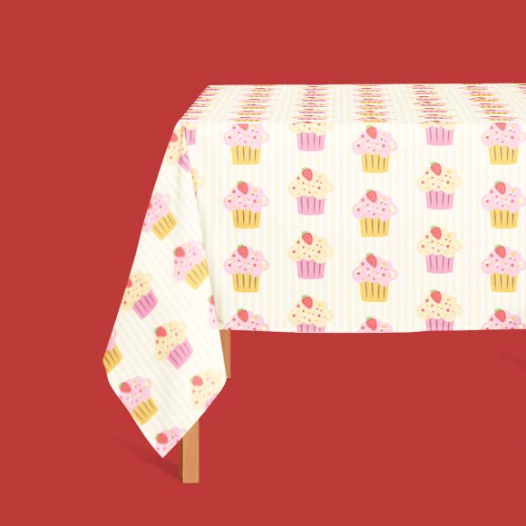Cup cake print table cloth