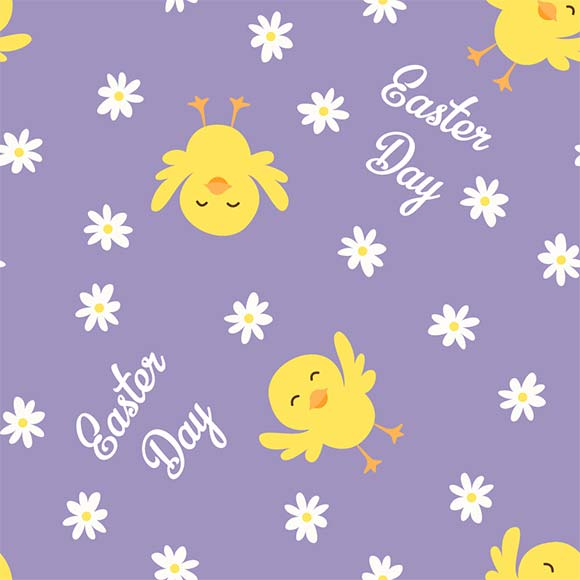 Cute cartoon easter chicks and flowers seamless vector pattern