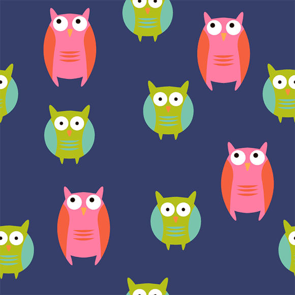 pink-green-colour-owl-with-blue-colour-background