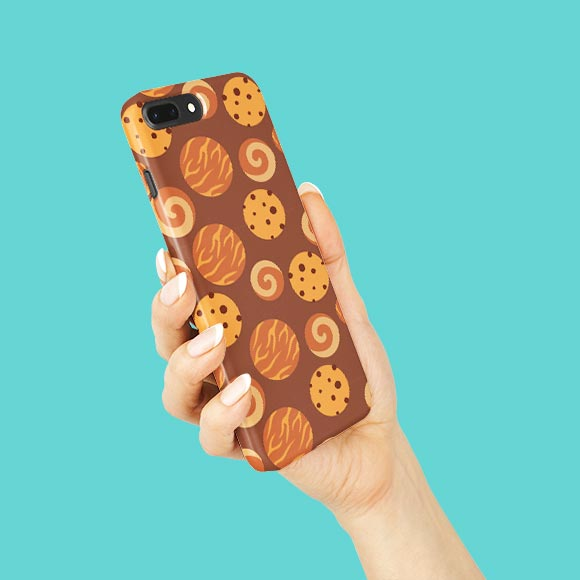 Delicious cookies printed on phone case on hands