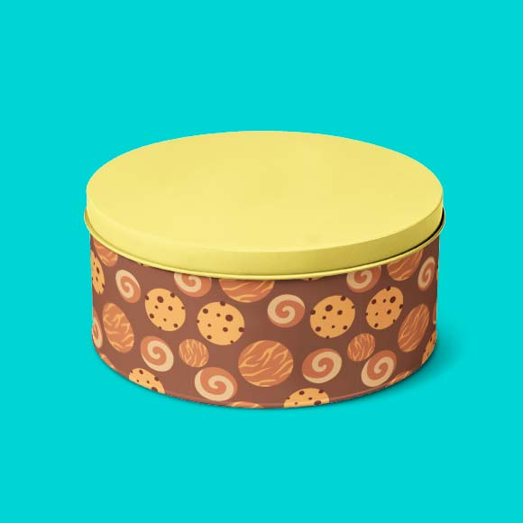 Delicious cookies printed tiffin box with yellow colour cap.