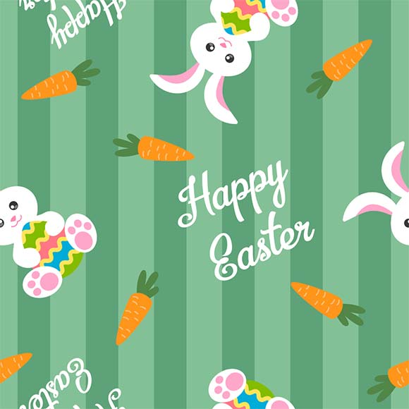 Rabbits, carrots and happy easter greetings seamless vector pattern