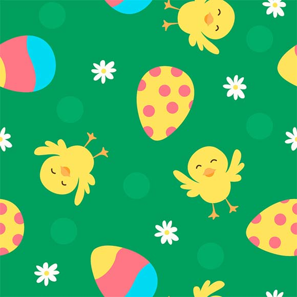Colorful easter eggs, chicks and flowers seamless vector pattern