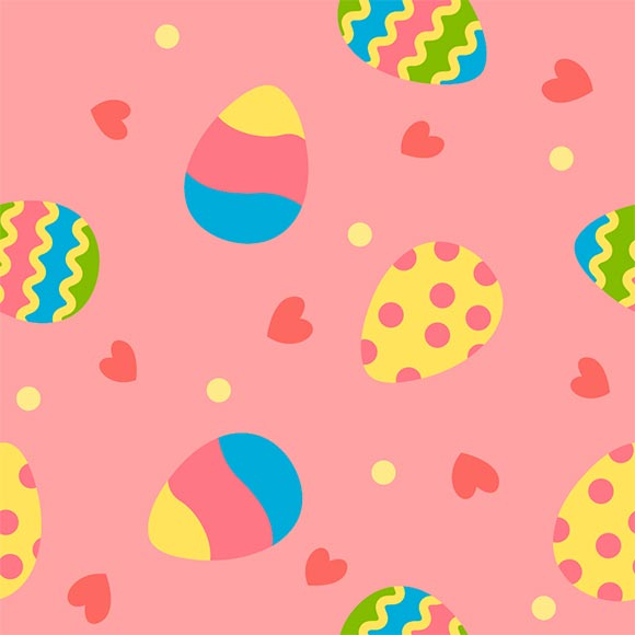 Decorative painted eggs and hearts vector pattern. Easter background
